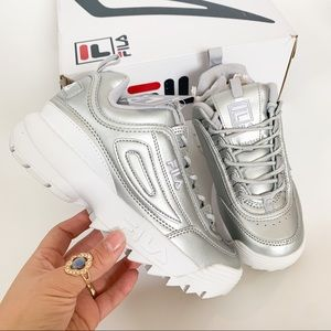 NWB FILA METALLIC DISRUPTOR SHOES